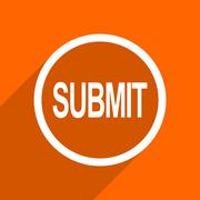 submit icon. Orange flat button. Web and mobile app design illustration - stock illustration
