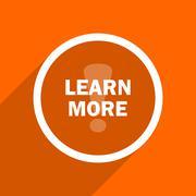 learn more icon. Orange flat button. Web and mobile app design illustration - stock illustration