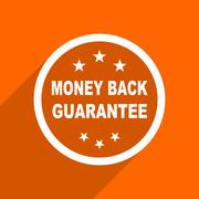 money back guarantee icon. Orange flat button. Web and mobile app design illu - stock illustration