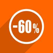 60 percent sale retail icon. Orange flat button. Web and mobile app design il - stock illustration