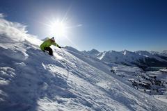 Man skiing off piste in Kuhtai ,Tirol, Austria - stock photo