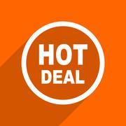 hot deal icon. Orange flat button. Web and mobile app design illustration - stock illustration