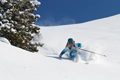 Female skiing off-piste in Kuhtai, Austria - stock photo