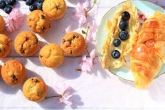 Rustic wooden breakfast background with bluberries, fresh scones and blooming Stock Photos