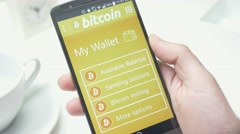 4K Bitcoin Wallet on Smartphone Screen Stock Footage