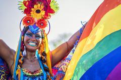 Brazilian Woman Wearing Colorful Costume at Carnival 2016 Rio de Janeiro, Brazil Stock Photos