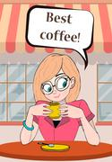 Lady or girl with Cup of coffee in a cafe and smiling - stock illustration