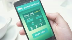 4K Hotel Booking on Smartphone Mobile App Stock Footage