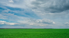 Green field and cloudy sky beautiful clouds floating over green bright sky Stock Footage