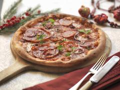 Homemade pizza with spicy salami, hot calabrian sausage, red onion and mozarella - stock photo
