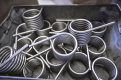 Large amount of springs in testing laboratory, close up Stock Photos