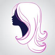 Woman face silhouette isolated on white background Stock Illustration