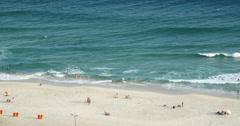 Aerial View Rio de Janeiro, Beach Barra da Tijuca, Brazil. Ocean, tourists Stock Footage