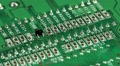 Green microcircuit chip with electronic components Footage