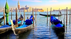 Gondolas from Piazza San Marco, with San Giorgio Maggiore in the background Veni Stock Footage