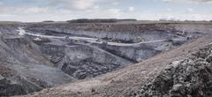Overview of excavation and geology in surface coal mine Stock Photos