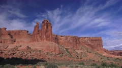 Pan Three Gossips to Sheep rock, ARCHES NATIONAL PARK Stock Footage
