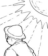 Outlined Man in Hat Under Sun - stock illustration