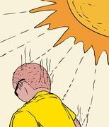 Man Getting Sunburned - stock illustration