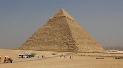 Tourist visit the Pyramids of Giza - Egypt Stock Footage
