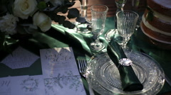 Close up of elegant wedding table  served in rustic style and decorated with Stock Footage