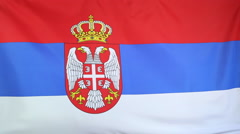 Serbian national flag in slow motion Stock Footage