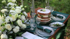 Close up of beautiful wedding table setting in rustic style in the forest Stock Footage