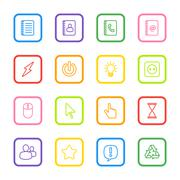 colorful line web icon set with rounded rectangle frame - stock illustration
