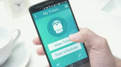 4K Train Ticket on Smartphone Screen Stock Footage