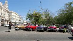 Parque Central Classic Cars Havan Cuba Pan Stock Footage