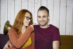 Candid portrait of young couple - stock photo