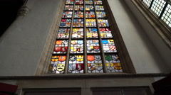 Old Church (Oude Kerk) Amsterdam Stained Glass Window, the Netherlands Stock Footage