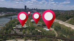 GPS Markers on an Aerial City - stock footage