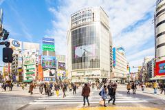 Shibuya Crossing in Tokyo, Japan Stock Photos