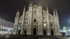 Milan dome at night in time lapse Stock Footage