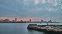 Dusk in Havana from El Morro Stock Footage