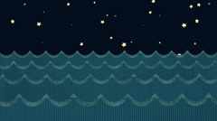 Paper Sea Waves on a Starry Night Sky Background Stock Footage