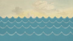 Paper Sea Waves on a Painted Sky Background Stock Footage