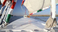 View of the bow of felucca Stock Footage