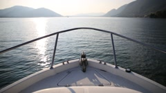 Motor boat navigation, view of prow Stock Footage