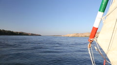 View of Nile from felucca boat Stock Footage