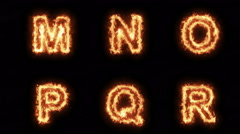 Burning Letters M N O P Q R , Letters on Fire Six in One Pack  , Ultra HD 4K Stock Footage