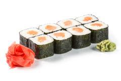 Sushi with salmon sake-maki isolated on white. Japanese food - stock photo
