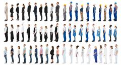 Collage Of People With Different Occupations Standing In Line Against White B Kuvituskuvat