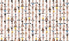 Collage Of People From Different Occupations Smiling Against White Background Kuvituskuvat