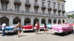 Parque Central Classic Cars Havana Cuba Smoke Stock Footage