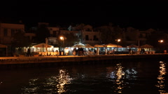 Skopelos harbour at night, Greece Stock Footage