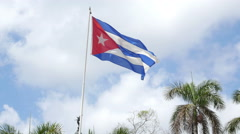 Cuban Flag Havana Stock Footage