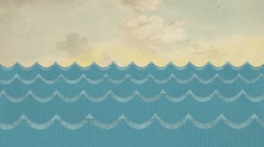 Theatrical Windy Paper Sea Waves on a Painted Cloudy Sky Background Stock Footage