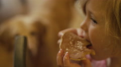 A dog begging as a little girl eats a pancake with her hands Stock Footage